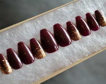 Burgandy and gold glitter press on nails| Any size or shape | Fake nails | glue on nails | False nails | Matte nails|Stiletto nails