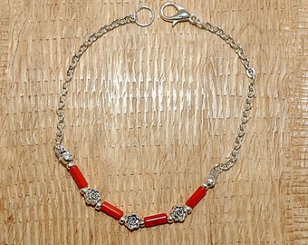 Coral Beads Bracelet with silver plated chain