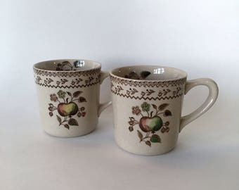 Two Vintage Johnson Bros Staffordshire Old Granite Fruit Sampler Mugs~Made In England~Old Style~Design Inside and Outside the Mugs