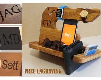 Docking Station iPhone8 StGifts for him Gifts for anniversary and Desk organizer iPhone8 Personalized Docking Station  Charging Station