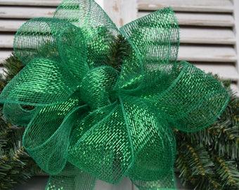 Green Shimmer Bow, Green Mesh Bow, Green Christmas Bow, Wreath Bow, Basket Bow, Lantern Bow