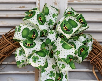 St. Patrick's Day Bow, Shamrock Bow, Leprechaun Hat Bow, St. Patty's Day Bow. Decorative Bow, Wreath Bow, Basket Bow