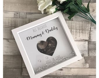 All because mummy and daddy fell in love 3d rhinestone box Keepsake frame baby bump scan
