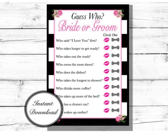 Guess Who? Bride or Groom Game-Bridal Shower Game
