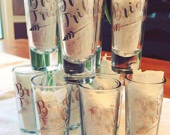 Bride Tribe shot glasses, shot glass set