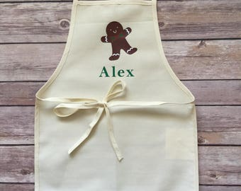 Boy's Christmas Apron, Christmas Apron, Personalized Baking Apron, Toddler Apron, Kids Dress Up, Boy Apron, Gingerbread Apron, Bake