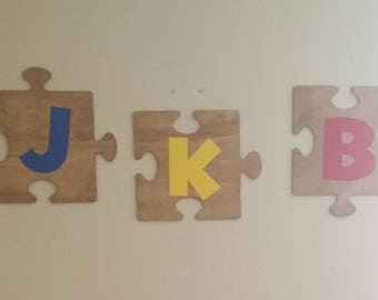 Personalized Puzzle piece sign with initials