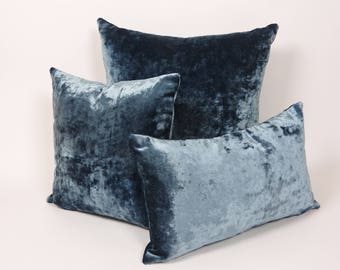 Luxuriously crafted  blue velvet throw pillow. Solid color and plush velvet, mix with other pillows to add a modern touch to any room.