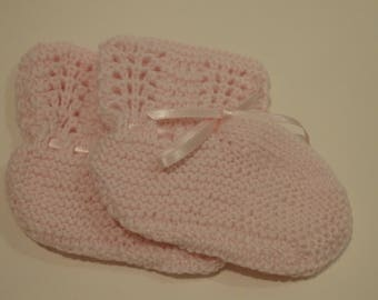 Pink Crochet Booties