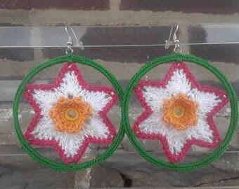 Crochet Earrings- Large Blossom Earrings- Crochet Earrings- Green, Pink, White, Yellow- Flower Jewelry