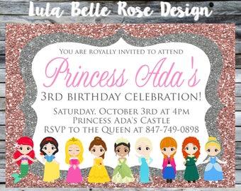 Princess Invitation, Princess Birthday Invitation, Princess Party Invitation, Royal Birthday Invitation, Princess 1st Birthday