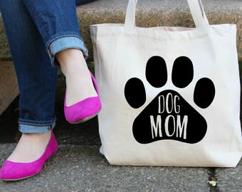 Dog Mom Canvas Tote Bag