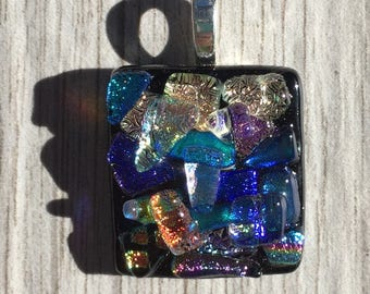 Dichroic Fused Glass Pendant - Three-dimensional Texture Rainbow Mosaic Pendant