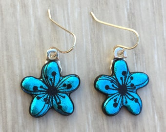 Dichroic Fused Glass Earrings - Aqua Bue Plumeria Flower Laser Engraved Etched Earrings with Solid Sterling Ear Wires