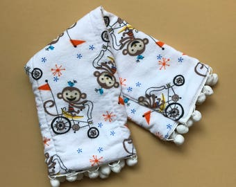 Monkeys on a bike burp cloth | White pom pom trim | Gender Neutral