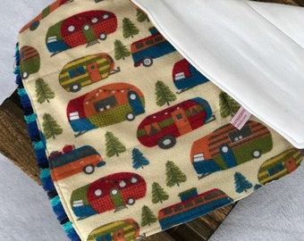 vintage camper baby burp cloth baby shower gift set new mom gift for new baby gift set unique baby shower gift set vintage nursery camper