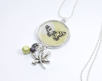 Black and Green Butterfly Necklace