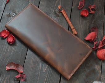 Brown leather long wallet. Traveller wallet. Travel case wallet. Handmade wallet. Handsewn leather wallet.