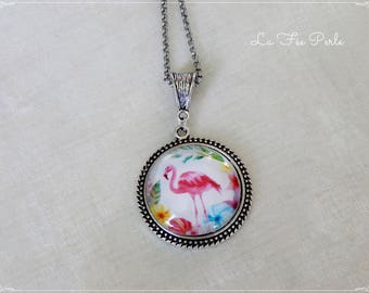Necklace glass cabochon and silver antiqued, Flemish roses