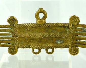 Antique Bronze Lobi Pendant from Burkina Faso - Vintage West African Bronze Pendant - BR810