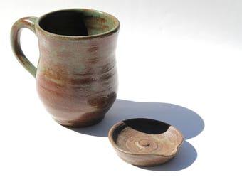 Handmade 8 oz Ceramic Green and Rust Colored Mug & Matching Tea Rest