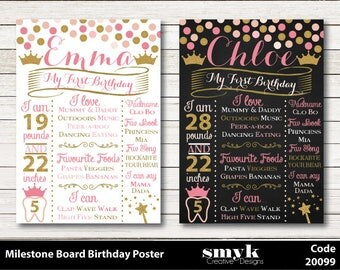 Princess Pink and Gold Glitter Effect Chalkboard Blackboard Personalised Digital First Birthday Milestone Memory Board Sign Print Code 20099