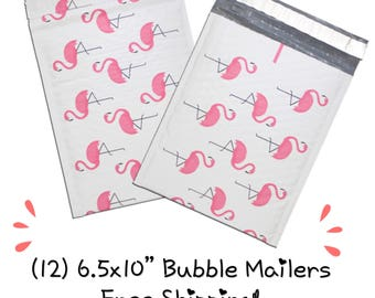 "FREE SHIPPING! (12) 6.5x10"" Pink Flamingo Designer Bubble Mailers"