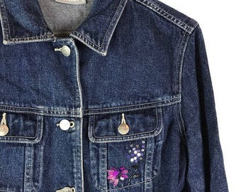 Vintage Embroidered Beaded Dark Denim Jacket - 10