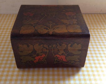 Beautiful Wooden Box with Poppy Design