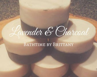 Charcoal and Lavender Hair Care--Cold Process--Shampoo Bars--Solid Shampoo--Conditioner Bars--Solid Conditioner-Travel Shampoo-READY TO SHIP