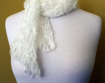 Soft Silky Textured Lightweight White Fashion Scarf FREE SHIPPING