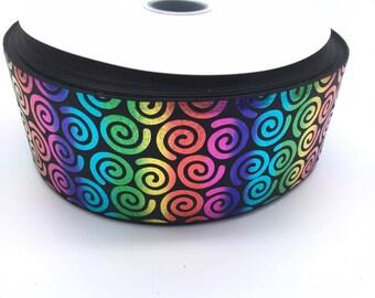 "Rainbow Foil Swirl Black 3"" 3 Inch Width Grosgrain Ribbon per Meter"