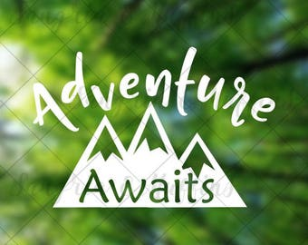 Adventure Awaits Mountains - Travel - Hiking - Outdoor - Car decal - Window decal - Laptop decal - Tablet decal