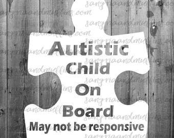 Autistic Child On Board - car decal, window sticker, autism awareness, special needs child on board, autism puzzle piece decal, puzzle decal