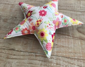 Star cushion, Star decorative pillow with flowers and ladybirds