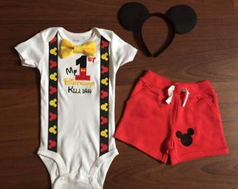 Mickey Mouse Personalized Embroidered First birthday, Boys birthday outfit, Baby boy first birthday, Mickey party, Red Shorts