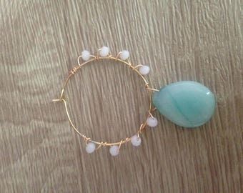 Earring Amazonite gemstone and glass beads
