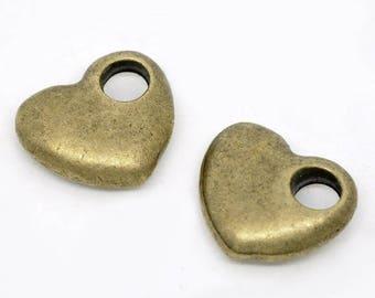 SET of 5 pierced bronze heart charm bronze (A10)