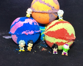 Five 5.0 ounce Inspired Dragon Ball Z Birthday Party Favor Set with Toy Surprised; All Natural Vegan, Homemade with Texas Size Love