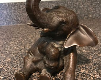 Antique Rare Jennings Brothers Bronze Metal Elephant Statue