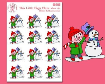 Oinkers Builds a Snowman - Snowman Planner Stickers - Winter Planner Stickers - Snow Day Stickers - Seasonal Planner Stickers -[Winter 1-04]