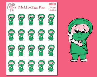 Surgeon Oinkers - Surgeon Planner Stickers - Surgery Planner Stickers - Career Stickers -Job Stickers - Medical Planner Stickers- [Job 1-07]