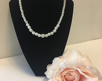 Bridal Pearl Necklace, Gift For Her, Ivory Pearl Necklaces, Freshwater pearl, Pearl Necklace, wedding necklace,pearl jewelry