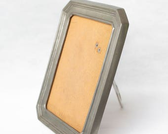 Pure pewter photo frame / mahogany / made in Portugal / art deco style