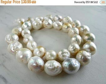 53% off Weekend Sale... Rainbow white baroque freshwater pearls/10x10-14x13mm/7.5 inch strand