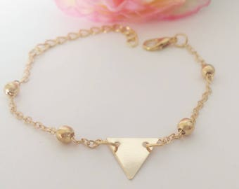 Ball chain and gold triangle bracelet