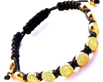 Saint Benedict Gold Tone Medallions Black Rosary Bracelet
