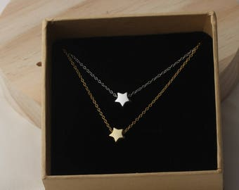 Silver necklace,Star pendant necklace,gold necklace,tiny star,gift.