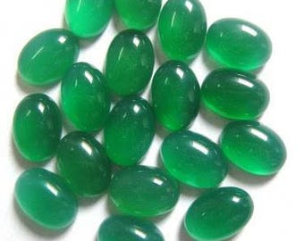 Natural lot of 10pcs Natural Green Onyx 7x9 mm oval shape cabochon for women Jewelry for sale