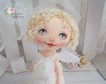 Аngel doll, Art doll, fabric doll, Soft doll, rag doll, textile doll, interior doll, doll, cloth doll, home decor, Angel, White